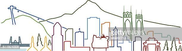 Portland Line City with landmarks