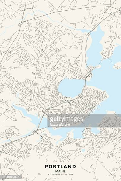 portland, maine vector map - portland maine stock illustrations
