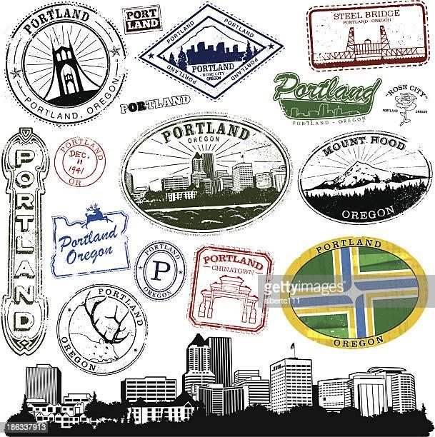 portland oregon stamp series - portland oregon stock illustrations