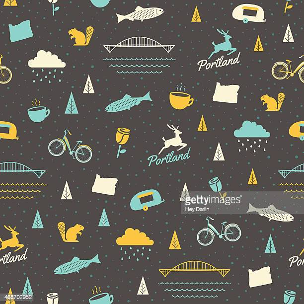 portland seamless pattern - portland oregon stock illustrations