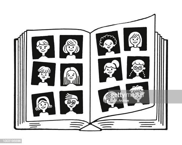ilustraciones, imágenes clip art, dibujos animados e iconos de stock de libro de retratos - grupo mediano de personas