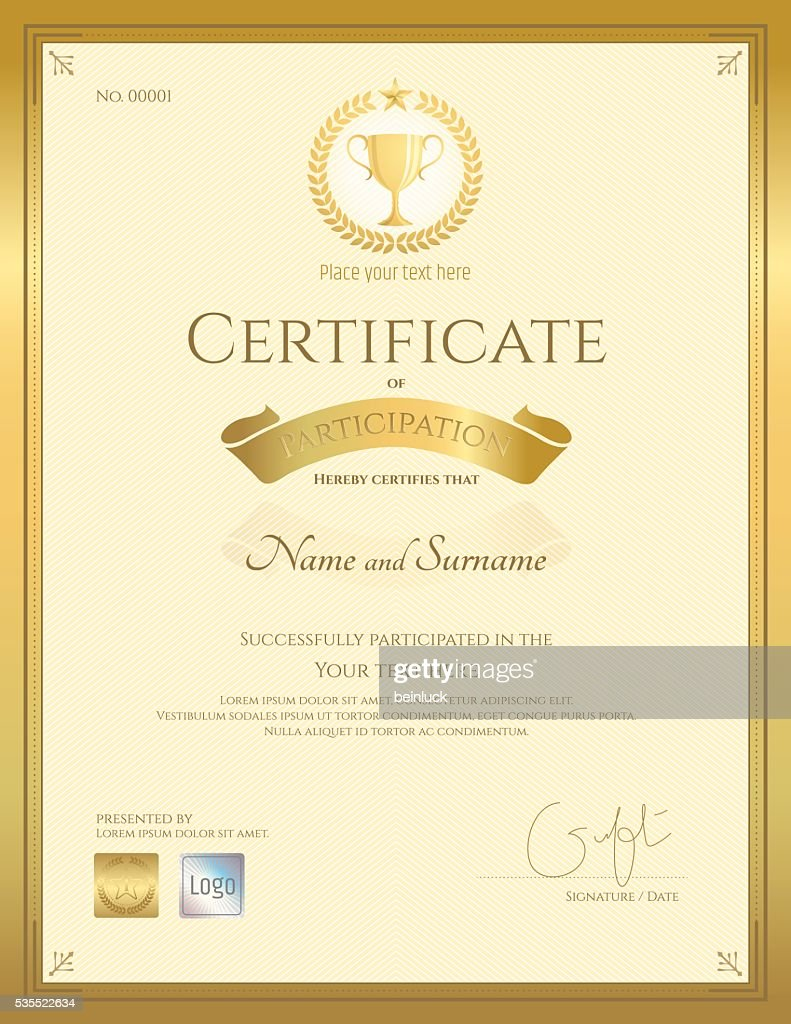 Portrait certificate of participation in gold theme