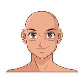 portrait face manga anime male bald smiling