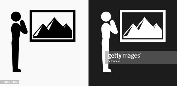 Portrait Icon on Black and White Vector Backgrounds
