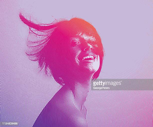 portrait of a beautiful, carefree young woman - saturated colour stock illustrations