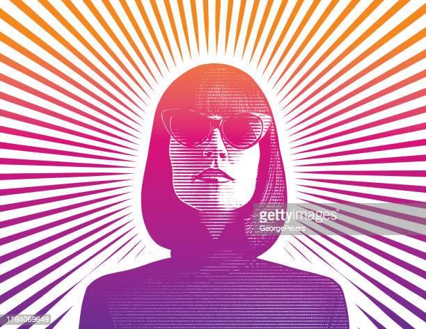 portrait of a beautiful female cyborg - dictator stock illustrations