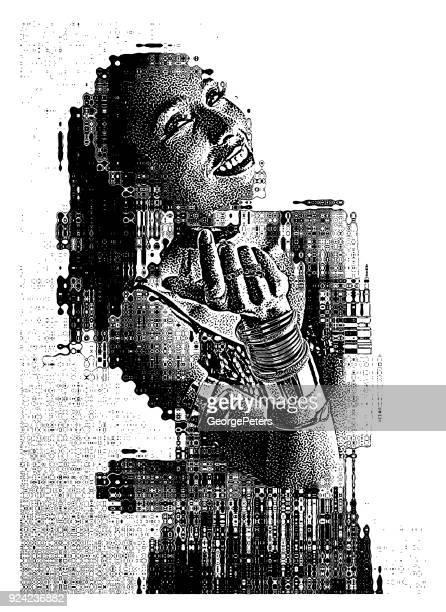 portrait of a beautiful hispanic woman latin dancer with glitch technique - spanish dancer stock illustrations, clip art, cartoons, & icons