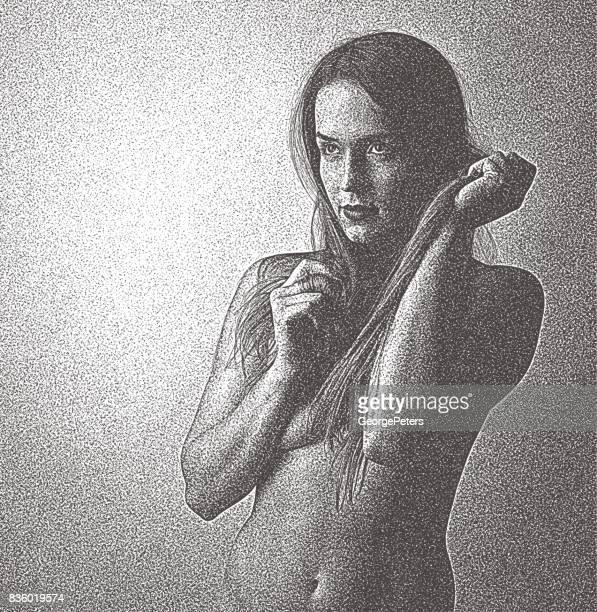bildbanksillustrationer, clip art samt tecknat material och ikoner med porträtt av en vacker, sensuell topless kvinna med starka korn - naket