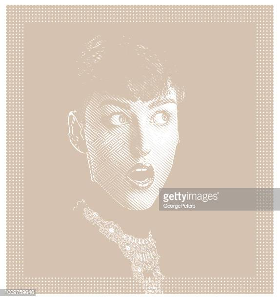 portrait of a beautiful woman with a surprised expression - lip gloss stock illustrations, clip art, cartoons, & icons