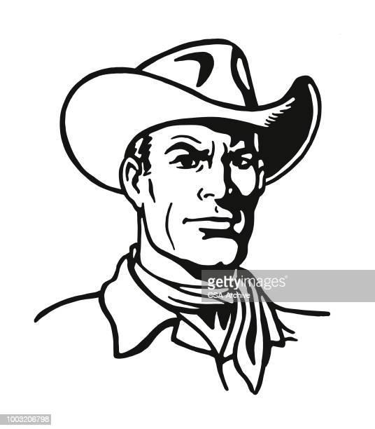 portrait of a cowboy - cowboy stock illustrations, clip art, cartoons, & icons