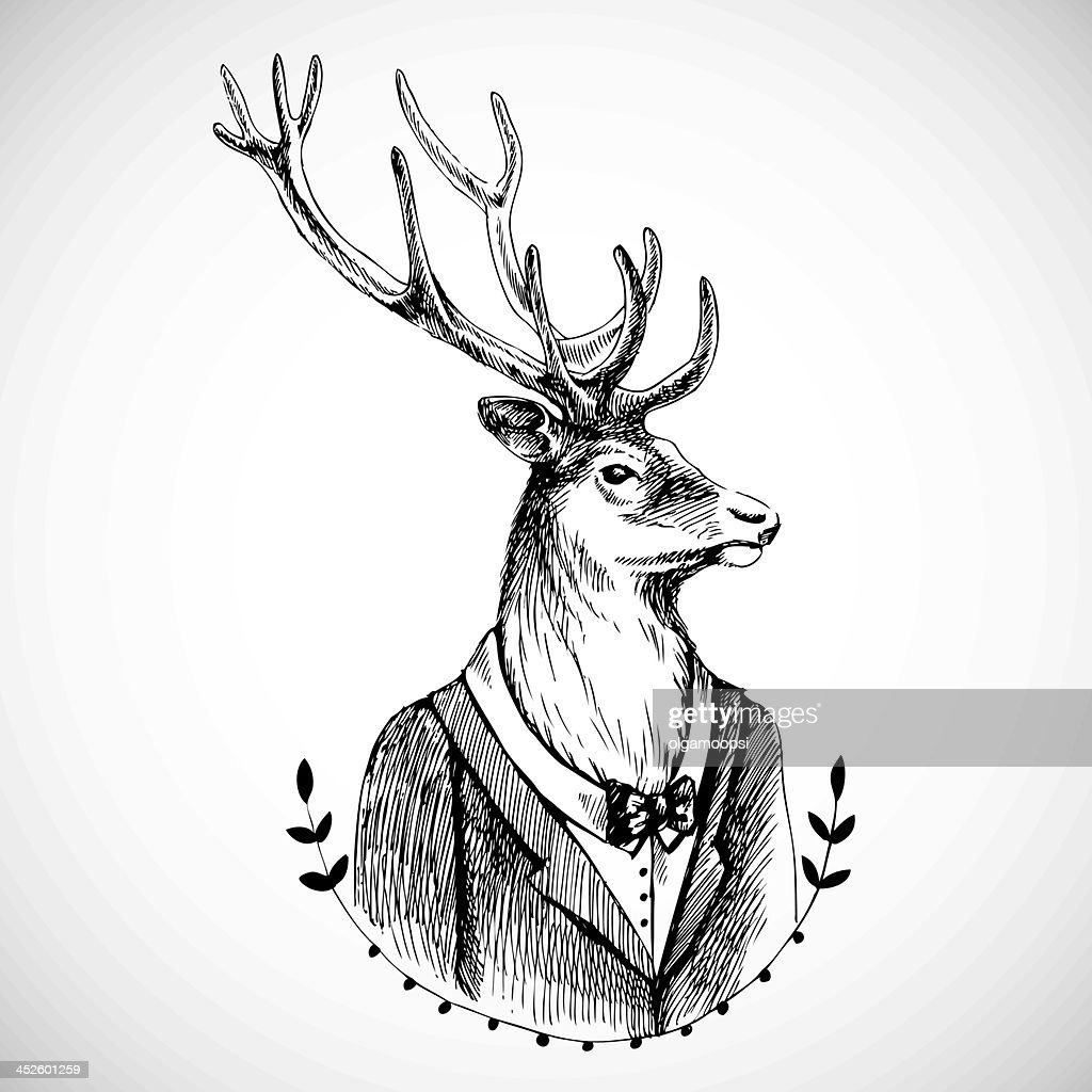 Portrait of a deer in tuxedo