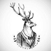 Portrait of a deer in tuxedo