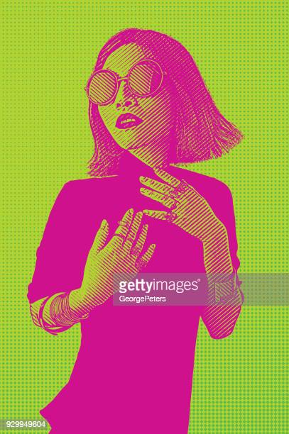 portrait of a fashionable vietnamese woman with cool attitude - silk screen stock illustrations, clip art, cartoons, & icons