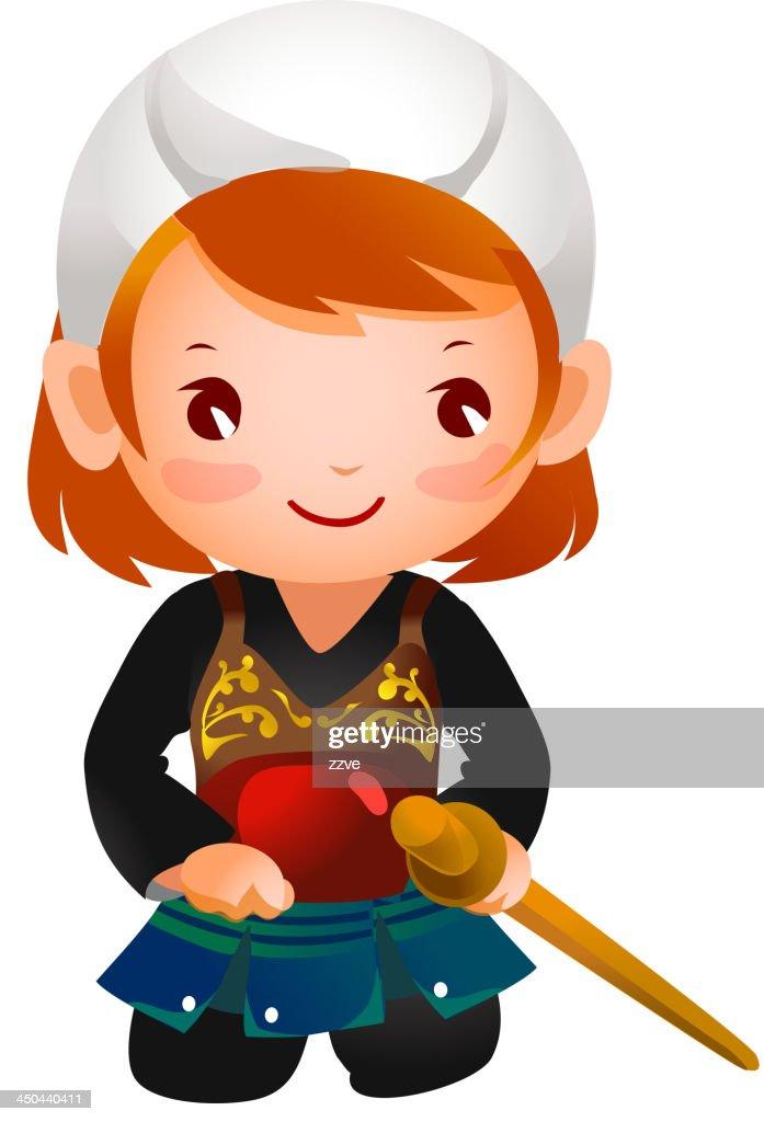Portrait of a girl wearing kendo uniform