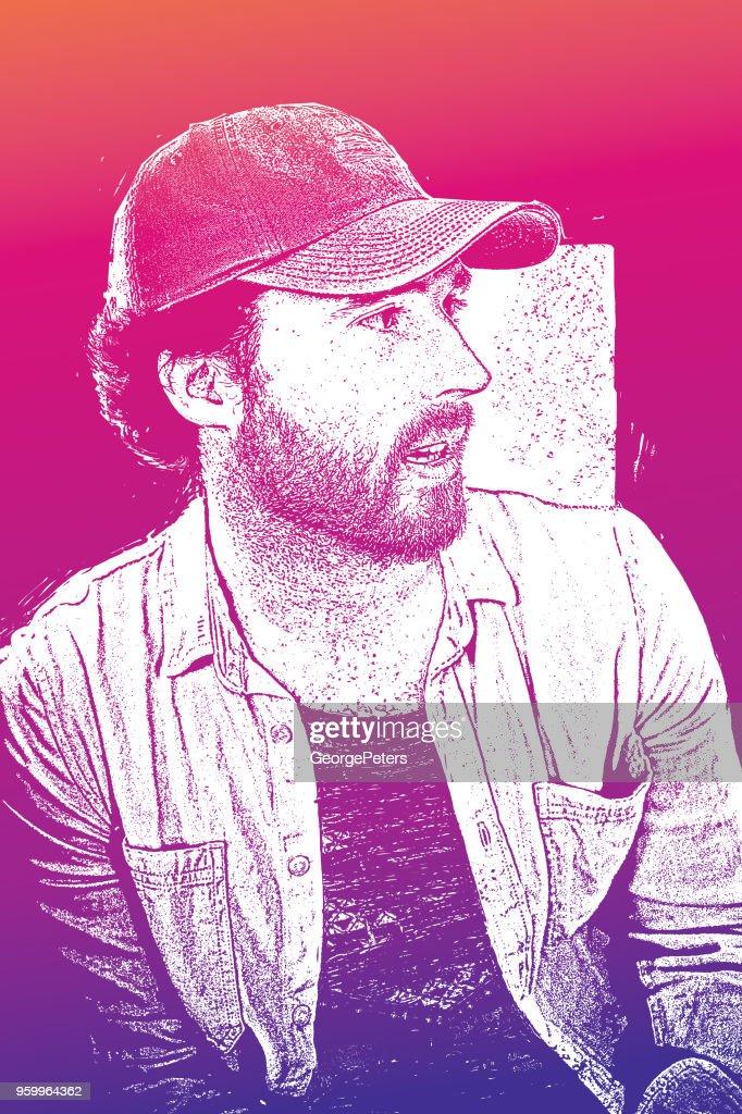 Porträt eines Mannes, hübscher Junge hipster : Stock-Illustration