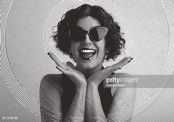 portrait of a happy adult woman - ecstatic stock illustrations