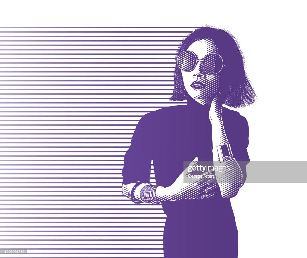 Retrato de una mujer asiática joven hip : Ilustración de stock