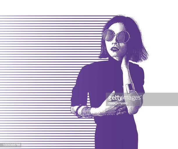 ilustraciones, imágenes clip art, dibujos animados e iconos de stock de retrato de una mujer asiática joven hip - mujeres de mediana edad