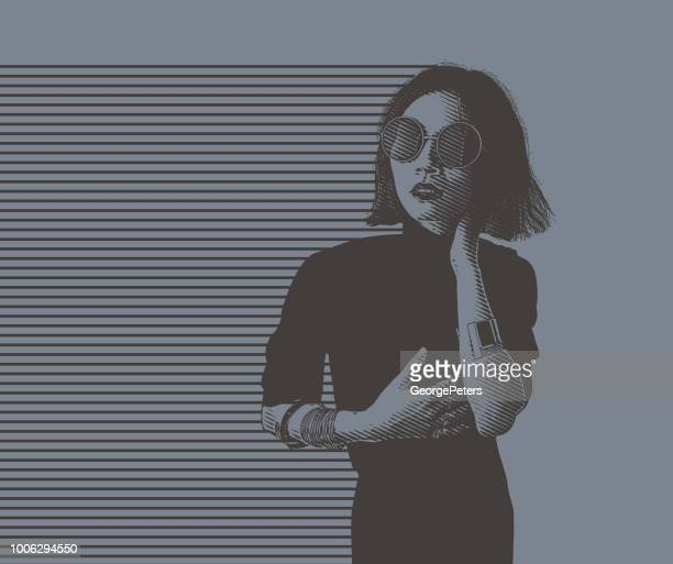 portrait of a hip young asian woman - desaturated stock illustrations, clip art, cartoons, & icons