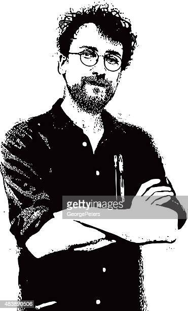 Ritratto di un uomo Hipster con barba e baffi