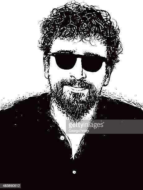 Porträt einer Hipster Mann mit Bart, Schnurrbart und eine Sonnenbrille mit