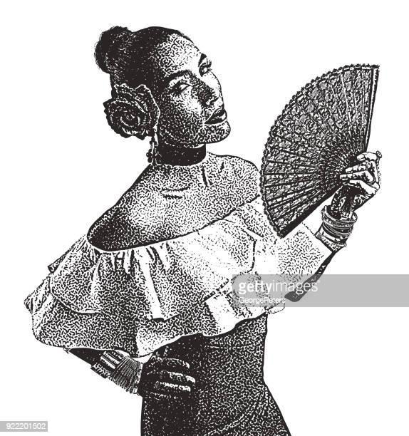 ilustraciones, imágenes clip art, dibujos animados e iconos de stock de retrato de una mujer hispana latina bailando - latin american dancing