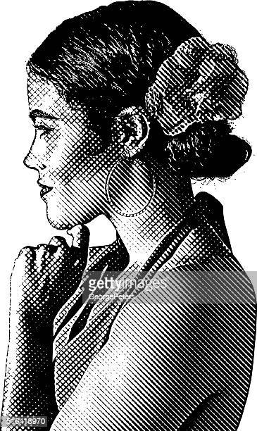 portrait of a latin american woman - latin american dancing stock illustrations, clip art, cartoons, & icons