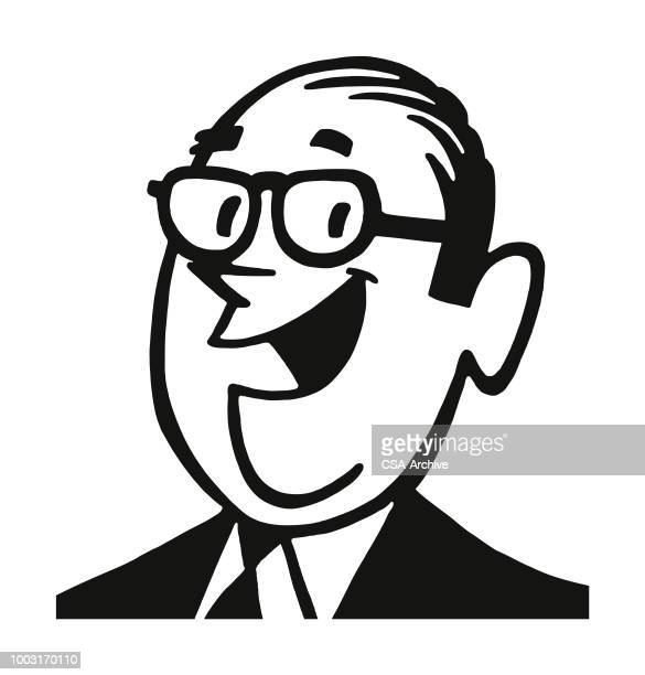 portrait of a laughing man - mature adult stock illustrations