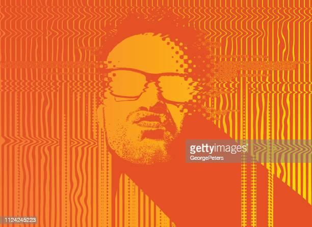 Portrait of a male Rapper with glitch technique