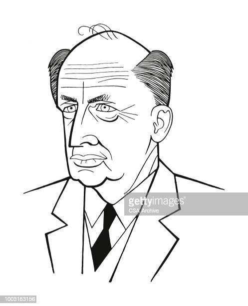 portrait of a man - humourless stock illustrations, clip art, cartoons, & icons