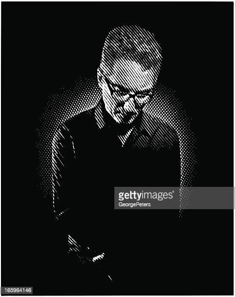 portrait of  a sad man - horn rimmed glasses stock illustrations, clip art, cartoons, & icons