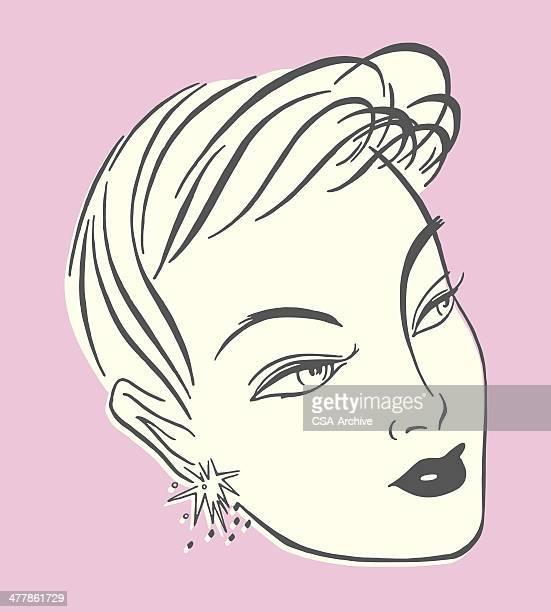 portrait of a woman - beautiful woman stock illustrations, clip art, cartoons, & icons