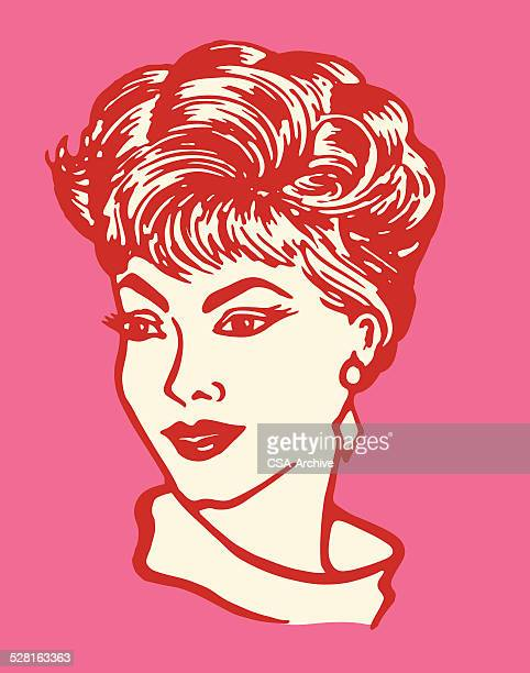 portrait of a woman - updo stock illustrations, clip art, cartoons, & icons