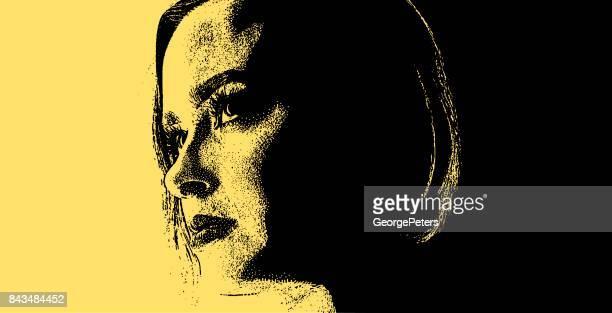 ilustraciones, imágenes clip art, dibujos animados e iconos de stock de retrato de una mujer con problemas de salud mental - bulimia