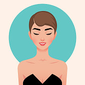Portrait of a young beautiful girl in retro sixties style. Portrait in the style of pop art