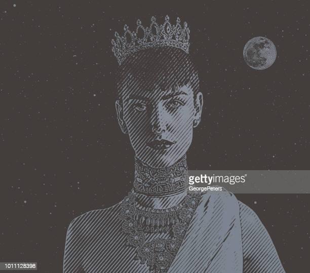 illustrations, cliparts, dessins animés et icônes de portrait d'un jeune princesse - droits de la femme