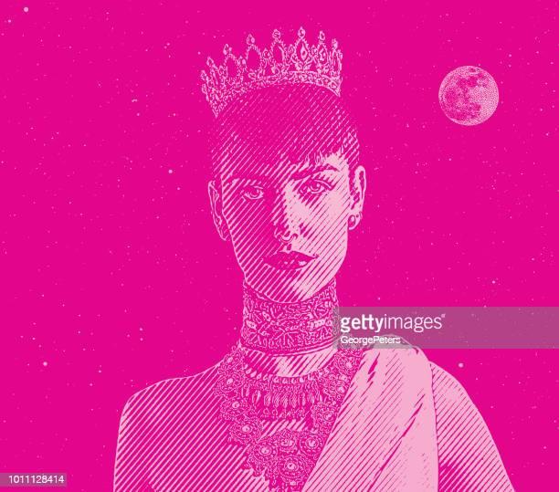 portrait of a young princess - me too social movement stock illustrations, clip art, cartoons, & icons