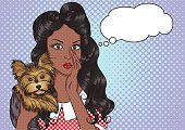 Portrait of african girl with dog and speech bubble