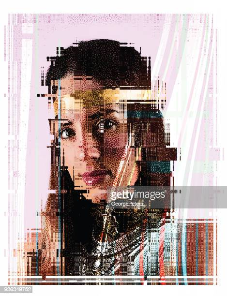portrait of beautiful boho woman with glitch effect - body conscious stock illustrations, clip art, cartoons, & icons