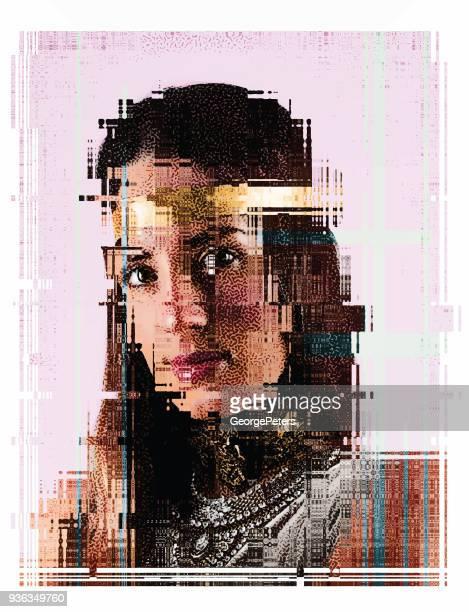 Portrait of beautiful boho woman with Glitch effect