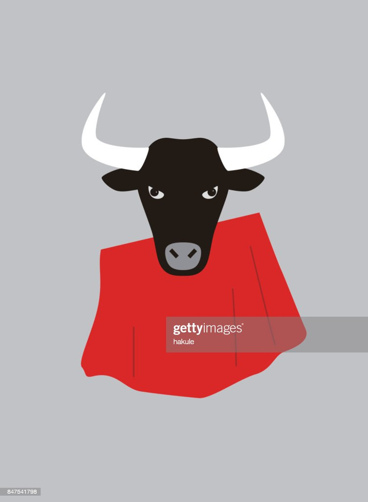 Portrait of bull, wearing something, cool style : stock illustration