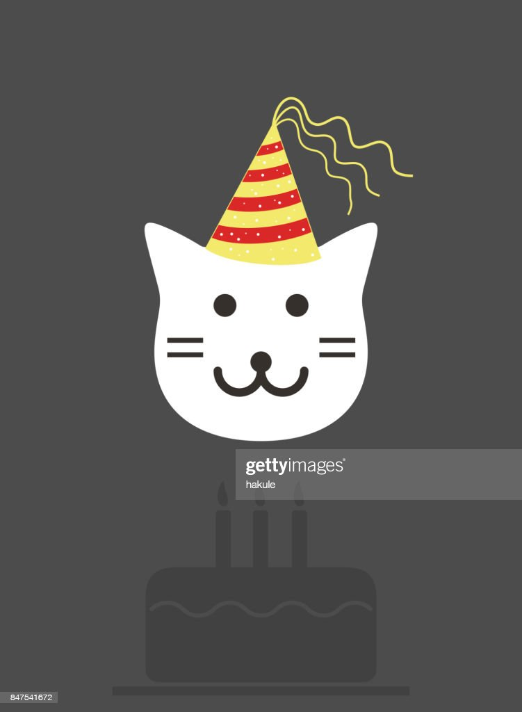 Portrait Of Cat Wearing Birthday Hat Cool Style Vector Art