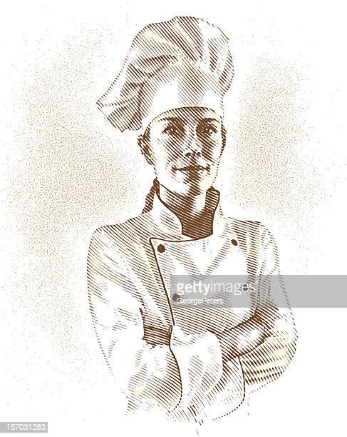 ilustrações, clipart, desenhos animados e ícones de retrato do chef - chef de cozinha