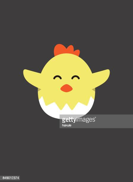 Portrait of chick, The chicks were born from the eggshell, cool style