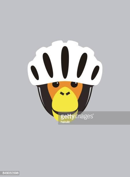 portrait of chimpanzee, wearing bike helmet, cool style - bike helmet stock illustrations, clip art, cartoons, & icons