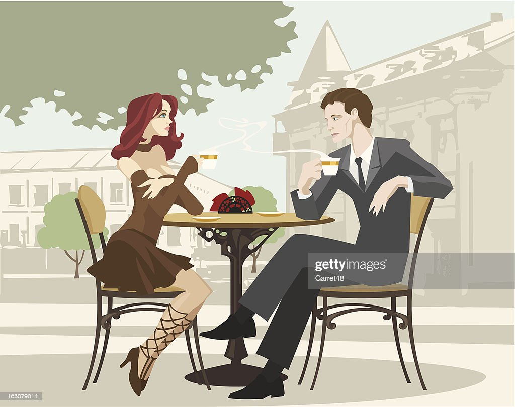 Portrait of Couple Drinking Coffee at Outdoor Cafe : stock illustration