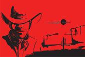 Portrait of cowboy man.Vector poster background