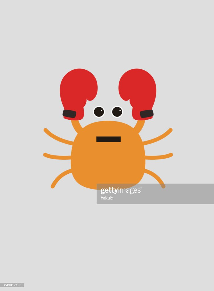 portrait of crab wearing boxer gloves like a boxer cool style vector