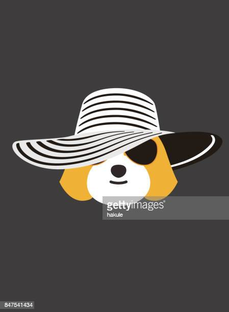 Portrait of dog, wearing sun hat, cool style