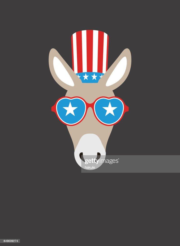 Portrait of donkey, wearing something, like Democratic Party US, cool style : stock illustration